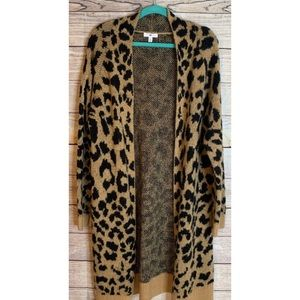 BP leopard print long duster